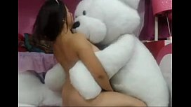 pornthey.com - girl playing with bear