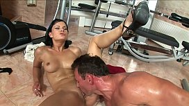Hot brunette secretary fucked hard by big dick boss anal and rough with mutual masturbation and a big cumshot facial on her face and glasses