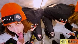 Risky blowjob in the dressing room - Amateur teen Elin Flame