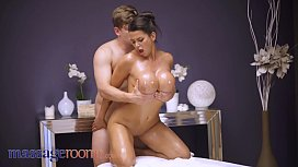Massage Rooms Big tits brunette Chloe Lamour oil soaked doggy and cowgirl