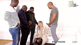 Smoking Blonde Florane Russell gets on her knees, gagging & deep throating 4 big black cocks offering up her tight pussy & ass for a rough pounding & 3 hot facials! Full Flick at PrivateBlack.com!
