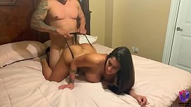 Big ass brunette bounces her ass on big cock after workout