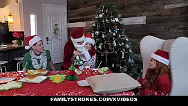 FamilyStrokes - Stepmom And Stepdaughter Have A Christmas Orgy With Stepdad And Stepbrother