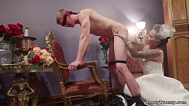 Tattooed brunette shemale bride Ts Foxxy in wedding dress blindfolds groom Zane Anders and spanks then fucks his throat and ass till cums on his asshole
