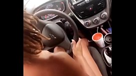 Ebony driving in the nude