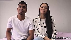 Couples: Valerin and her chocolate nipples. Colombian couple in porn casting