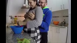 Homemade sex in the kitchen
