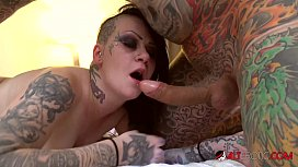 Heavily Tattooed Mallory Maneater Gets Covered In Cum After Hotel Room Fuck