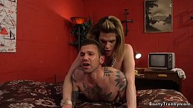 Inked guy sent by his girlfriend to hot tall and big cock tranny Delia DeLions in hotel room and then she anal fucked him