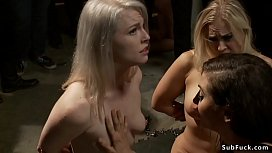 Roxanne Rae and three other hot submissive babes are throats and pussies pounded by big black cock in underground orgy sex for public