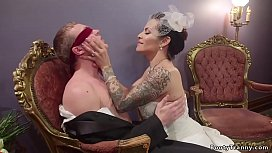 Big tits brunette shemale bride TS Foxxy slaps blindfolded fiance Zane Anders after wedding in their hotel room and then anal fucks him