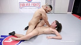 Victoria Voxxx in mixed naked wrestling battle vs Oliver Davis sucking cock and getting fucked roughly