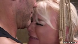 Big boobs blonde Milf London River squating in brutal bondage and getting deep throat banged