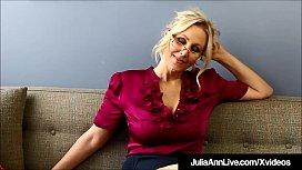 Blonde Milf Professor Ms. Julia Ann spreads her mature legs & touches herself over & over, instructing us on masturbation!