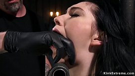 Dark haired babe Aria Alexander gagged with masters hand then in other device bondage pussy finger fucked