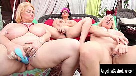 Busty babes Angelina Castro, Samantha GG, and Maggie Green are getting together to show off all of their delicious curves and play with their wet pussies for you to watch. Exclusive from AngelinaCastr