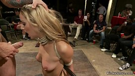Twenty years old hot blonde slut Dallas Blaze is deep throat fucked in public disgrace while lezdom Princess Donna Dolore canes and spanks her