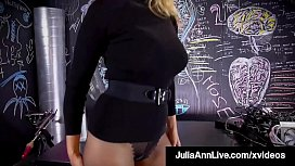 Magic Muff Stuffer, Julia Ann, fingers her quivering cunt in a hot wintery sweater & dark see through pantyhose, until she cums! Full Video & Julia Live  JuliaAnnLive.com!