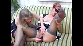 Fetish maid and nurse are targeted by their hot lesbian mistress