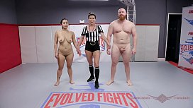 MILF Song Lee in mixed naked wrestle battle fighting Thor to the end at Evolved Fights
