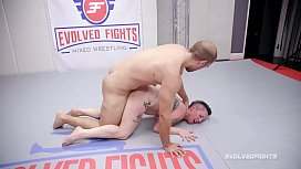 Tattoo babe Nikki Sequoia mixed naked wrestle fight vs Indiana Bones getting a rough fuck at Evolved Fights