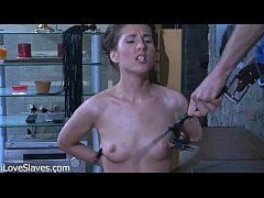 a long legged slim Russian brunettte model babe in collar punished and fucked