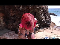 Looks at Anna Bell Peaks fucking a gigantic cock on the beach