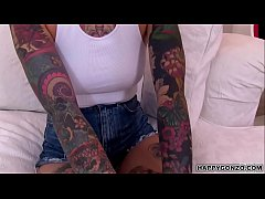 Super hot tattooed teen with piercings