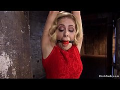 Tied up big tits blonde babe Cherie Deville undressed and in rope bondage nipples tormented and fucked