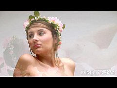Natural D Cup Ashley Nude With Flowers Crown