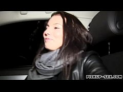 Natural tits Eurobabe fucked in the car