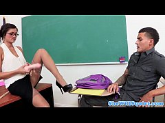 Squirting teacher fucked by her horny student