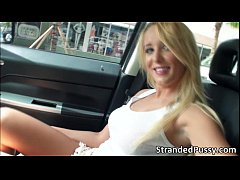 Super sexy blonde Tucker gets fucked in the car by dude with a huge cock