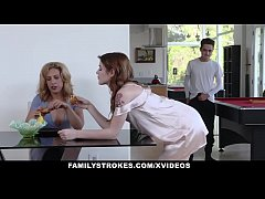 FamilyStrokes - Step siblings get caught ramming each other