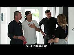 PunishTeens - Spoiled Brat gets Fucked By Daddy's Workers