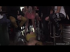 Master and mistress bringing hot yellow haired slaves Nerea Falco in Spanish public bar and anal fucking