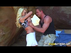 A Real Sexy Blonde with Big Boobs Gets Fucked Outside
