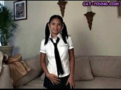 Asian Schoolgirl Striptease - kat young
