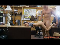 Tight babe screwed by nasty pawn keeper in his ...