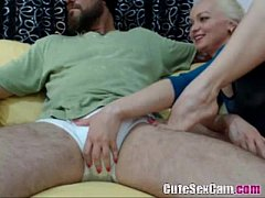 Blonde amateur sucking big cock and tease it with feets