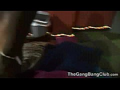 Petite chubby has a gangbang with her fat friend