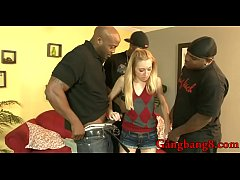 Pretty teen babe Emma Haize gets her pussy and ass rammed by monster black cocks