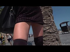 Euro babe Susy Gala meets her mistress Tina Kay in public and then lets her put her fetish shackles and disgrace her
