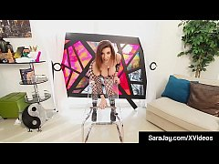 Award Winning Milf Sara Jay squats on top of her clear chair, riding her dildo with ball busting, see through angles that will drain you quick as she squirts her pussy juice all over!