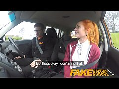 Fake Driving School Cute redhead Ella Hughes fu...