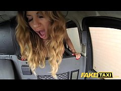 Fake Taxi creampie for rimming tanned babe with tiny pink pussy