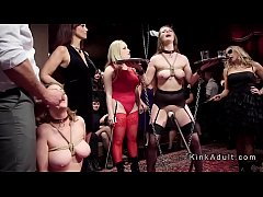 Group of female slaves anal pounded at the upper floor party