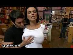Bdsm busty brunette banged in bookstore