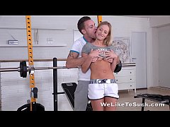 Blowjob - Kiara Lord gets slammed in the gym and takes a massive cock in her mouth