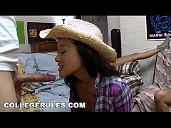 COLLEGE RULES - It's A Wild College Orgy, Featuring Asian Cowgirl Alina Li Riding Dick